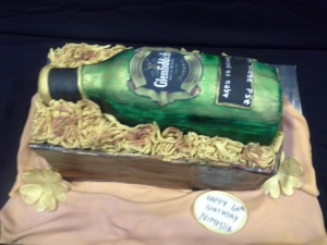 Fondant Liqueur bottle in a crate cake