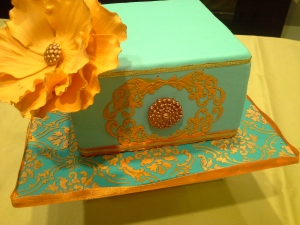 Stencilled edible paint on fondant cake