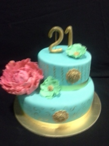 Tiered fondant cake with gumpaste flowers