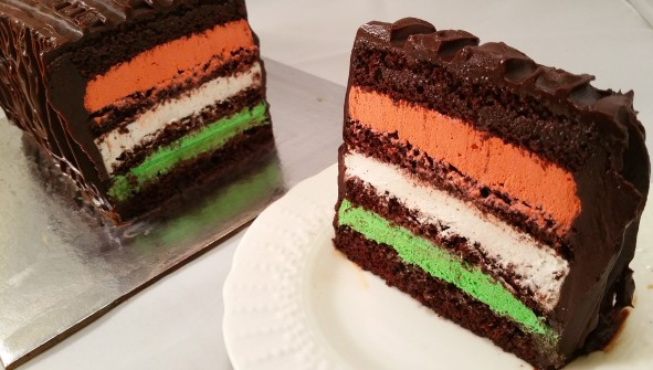Tricolor whipped ganache inside