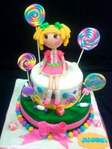 All edible Lallaloopsy doll made out of modelling paste