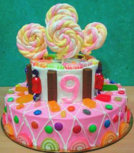 Cake loaded with OMG candies,marshmallows,gems....Gleee !