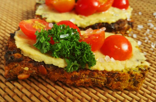 Masala gluten free bread with hummus,cherry tomatoes, maldonsalt and olive oil drizzle